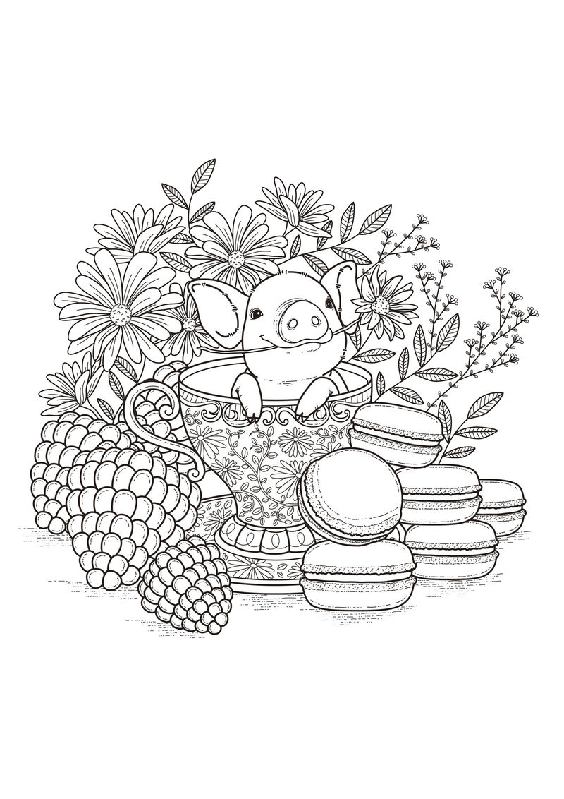 Little Piggy Coloring Pages For Teens