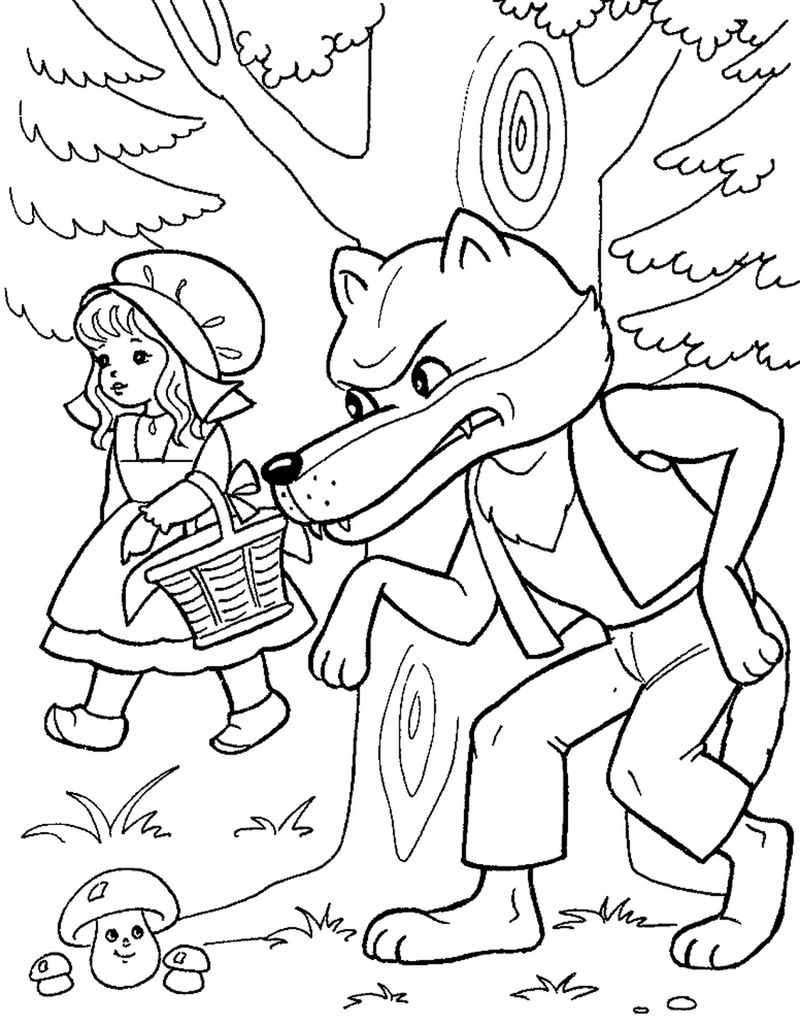 Little Red Riding Hood And Wolf Coloring Pages
