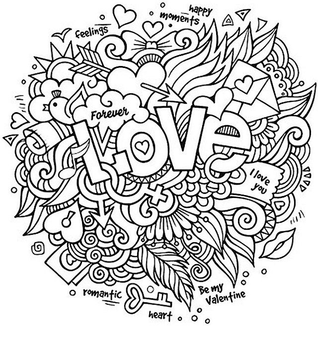 Love Collage Valentines Day Coloring Pages For Adults