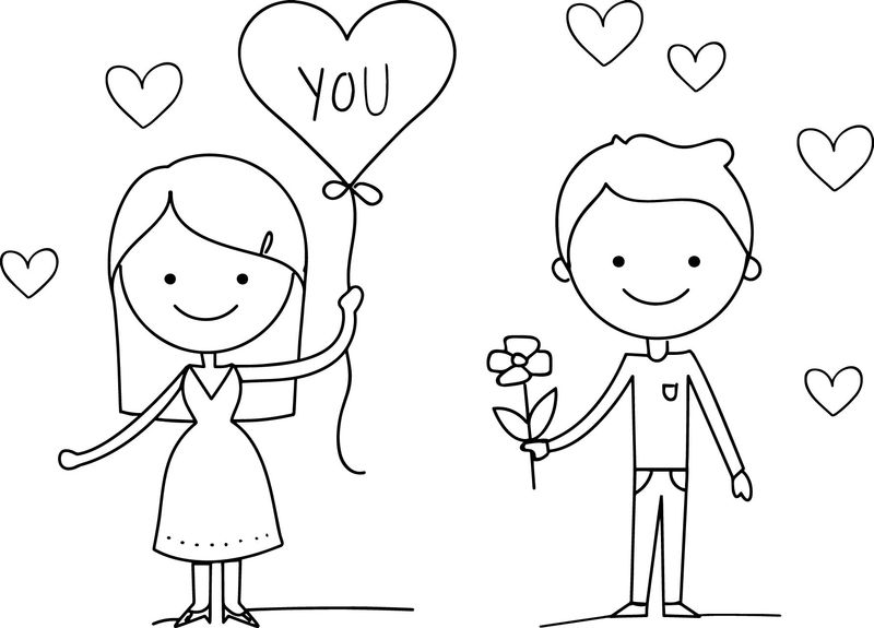 Love Couple Valentine Day Coloring Page