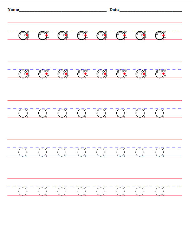 Lowercase A Worksheet Tracing