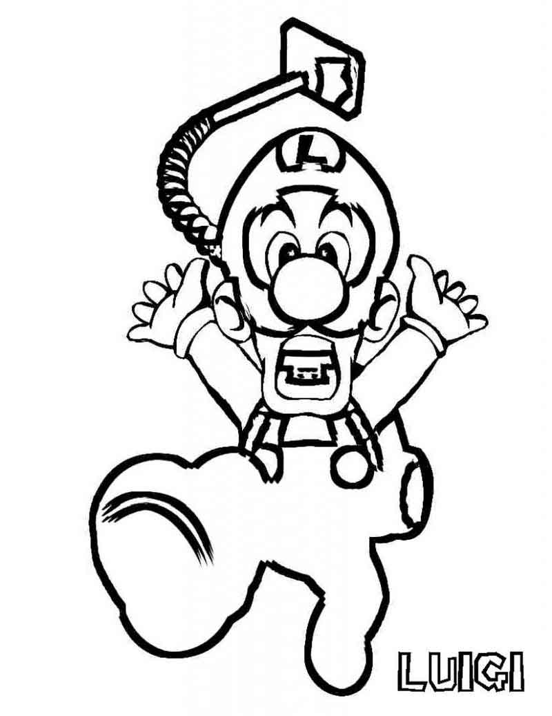 Luigi Coloring Pages For Kids