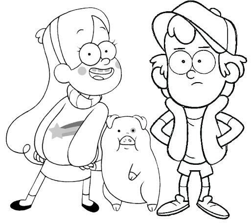 Mabel Waddles And Dipper From Gravity Falls Coloring Page