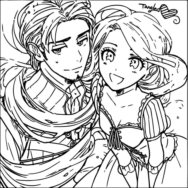 Manga tangled rapunzel and flynn coloring page