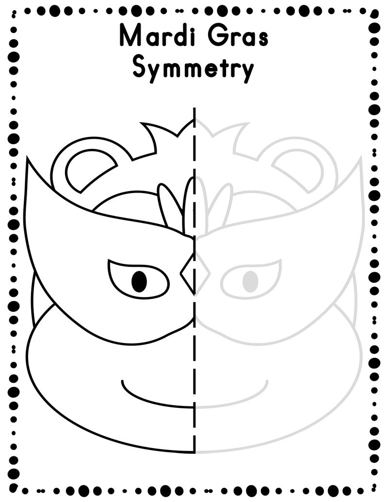 Mardi Gras Symmetry Worksheets