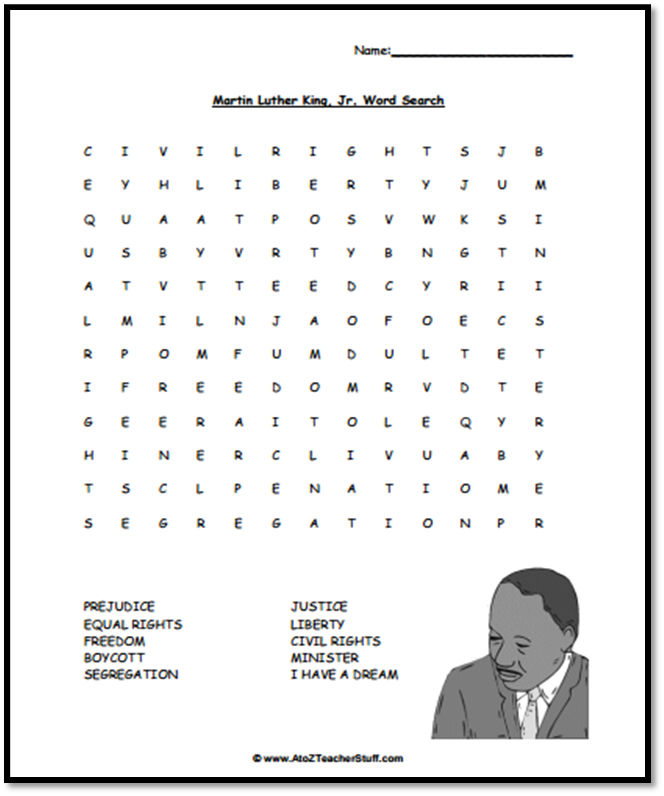 Martin Luther King Word Search Activty