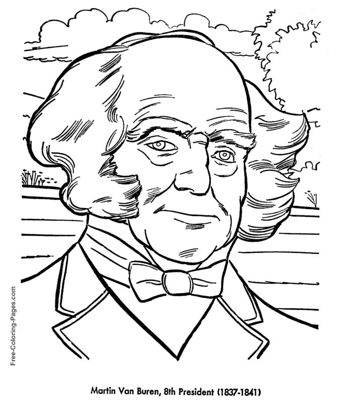 Martin Van Buren Presidents Day Coloring Page