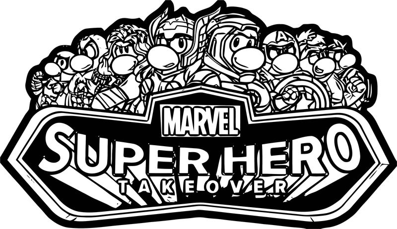 Marvel Super Hero Takeover Party Logo Coloring Page