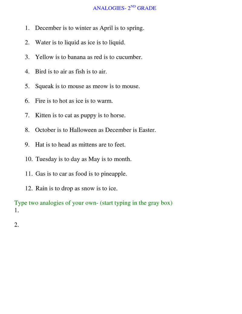Math Analogies Worksheet For 2nd Grade