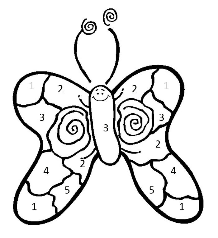 Math Coloring Pages Color By Number Butterfly