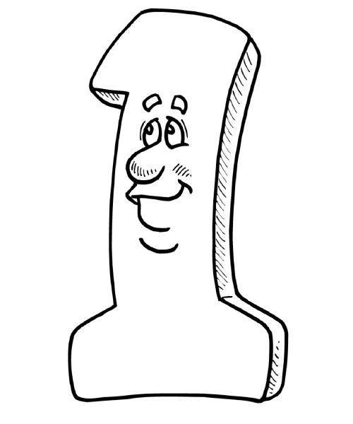 Math Coloring Pages The Number 1