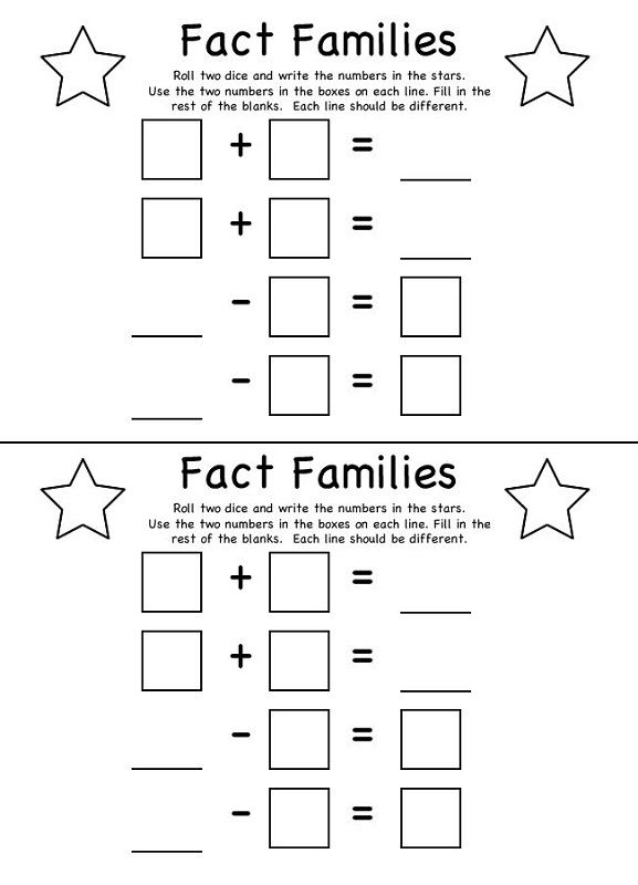 Math Fact Families Worksheets Blank