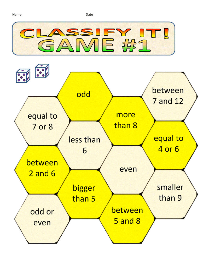 Math Games Worksheets Classify