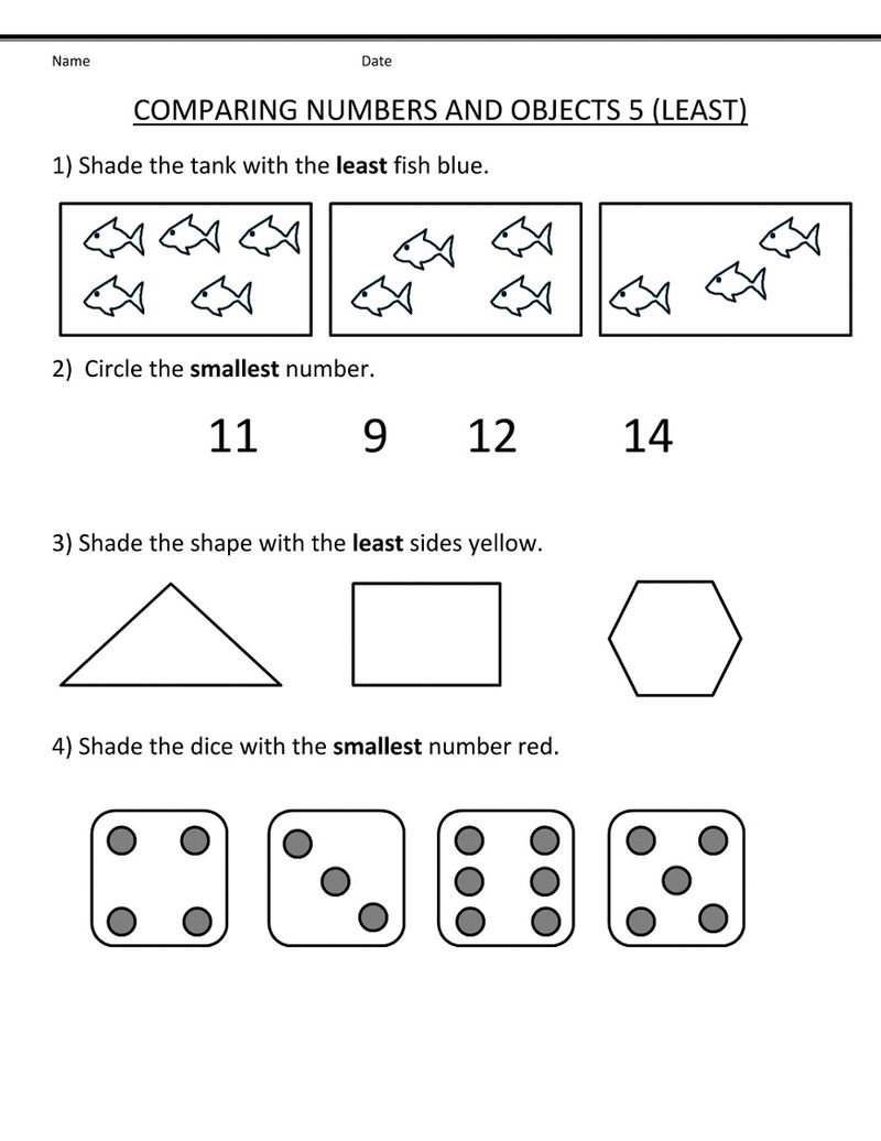 Math Numbers Worksheets Least