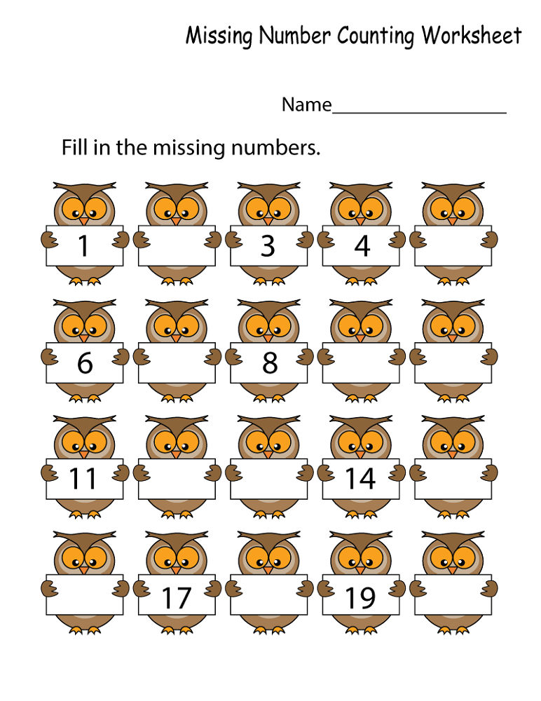 Math Numbers Worksheets Owl