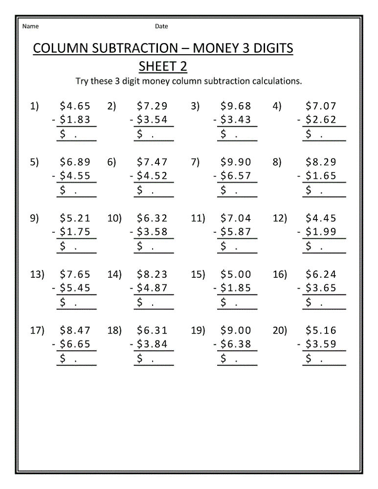 Math Problems Worksheets Subtraction
