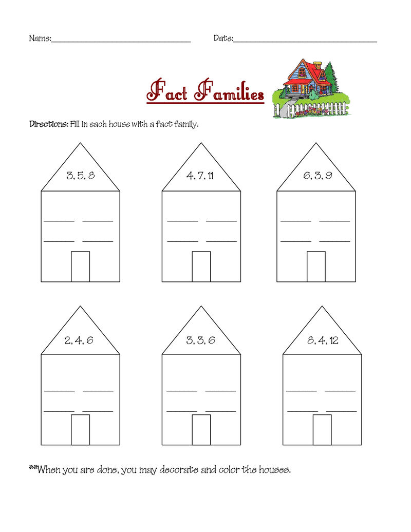 Math Worksheets Fact Families For School