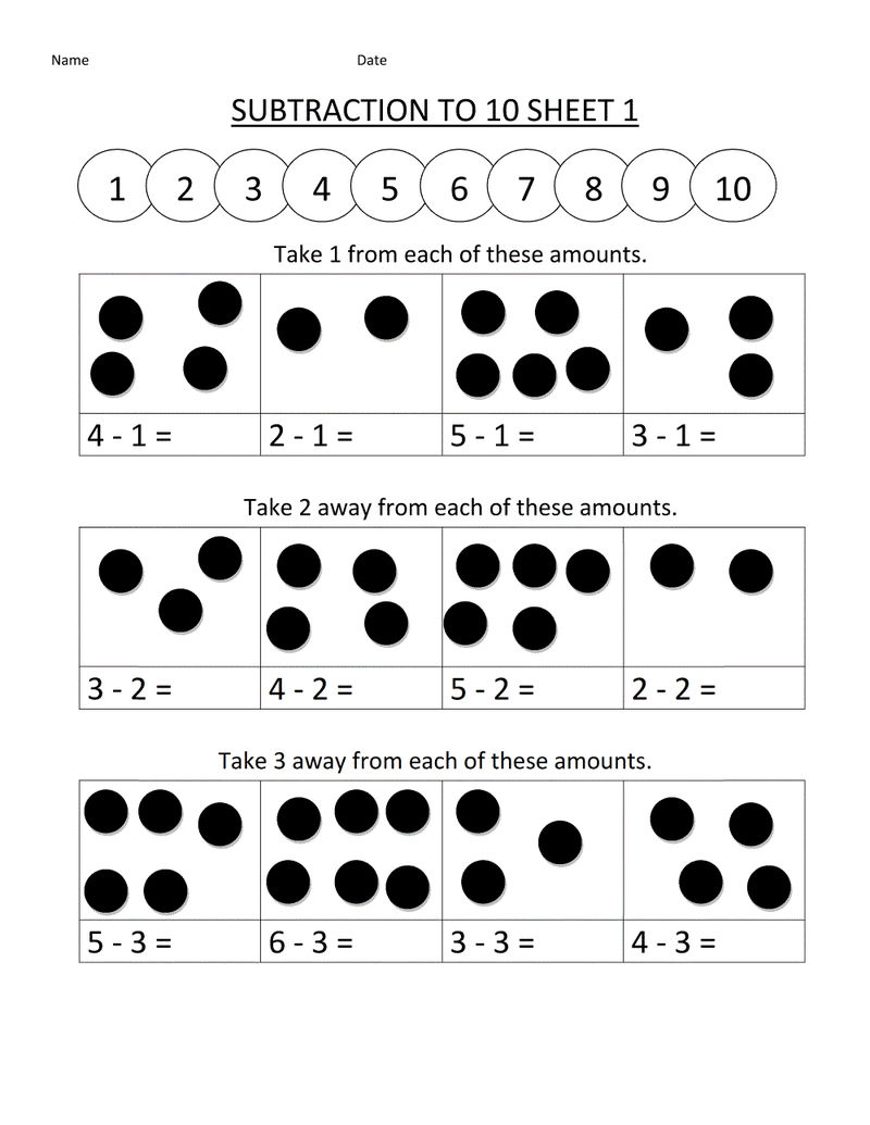 Math Worksheets For Kindergarten Addition And Subtraction Printable