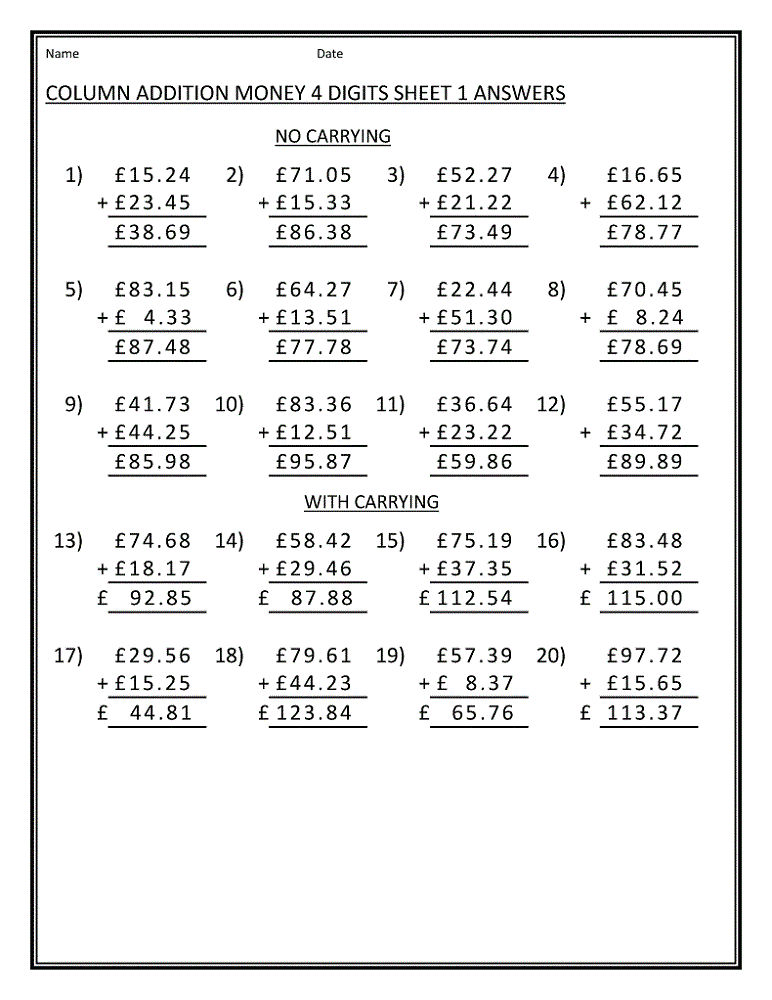 Maths Sheets For Year 4 Money
