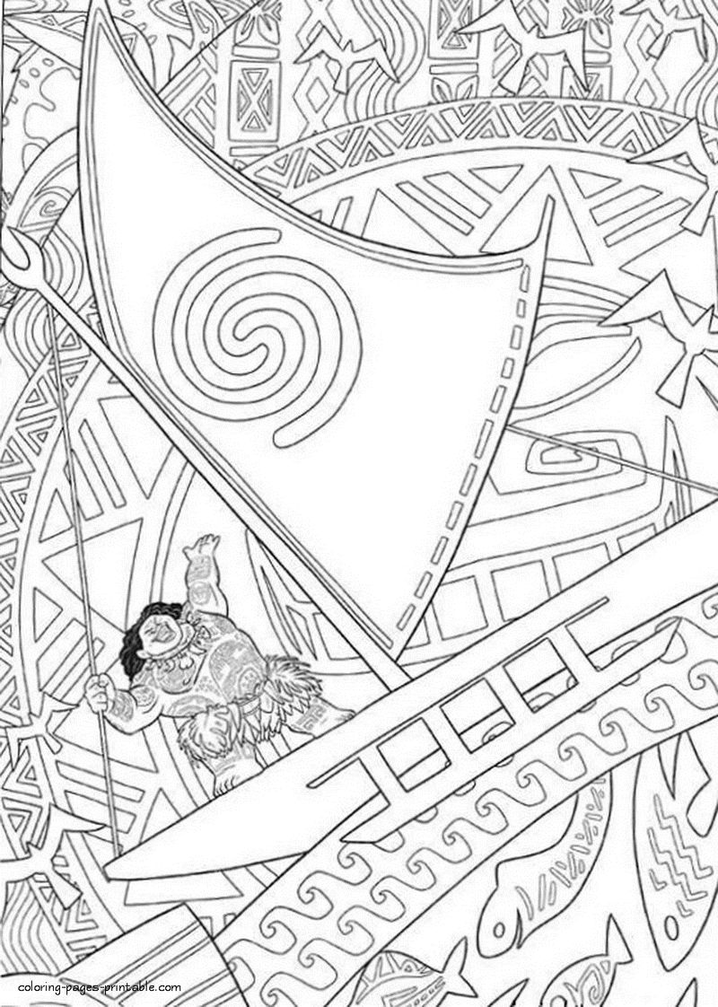 Maui Pattern Moana Coloring Pages