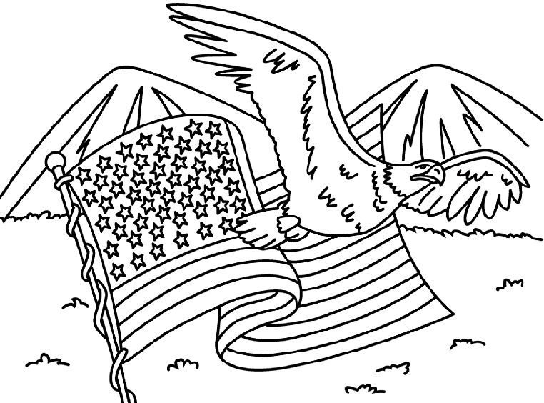 Memorial Day Coloring Pages Eagle