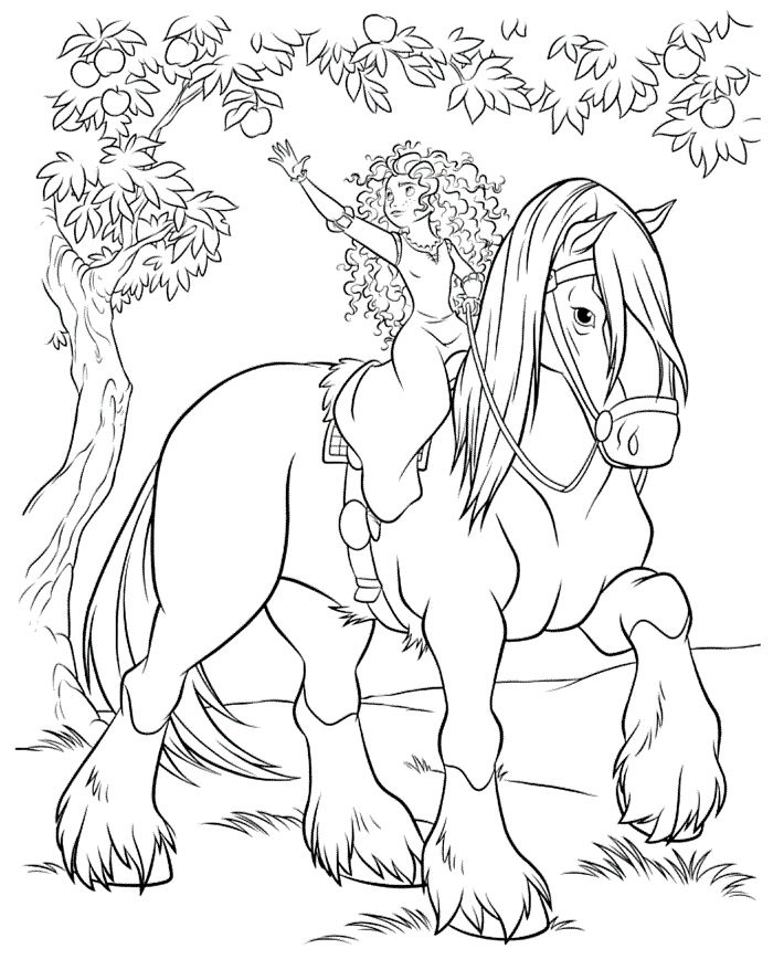 Merida And Horse Coloring Page