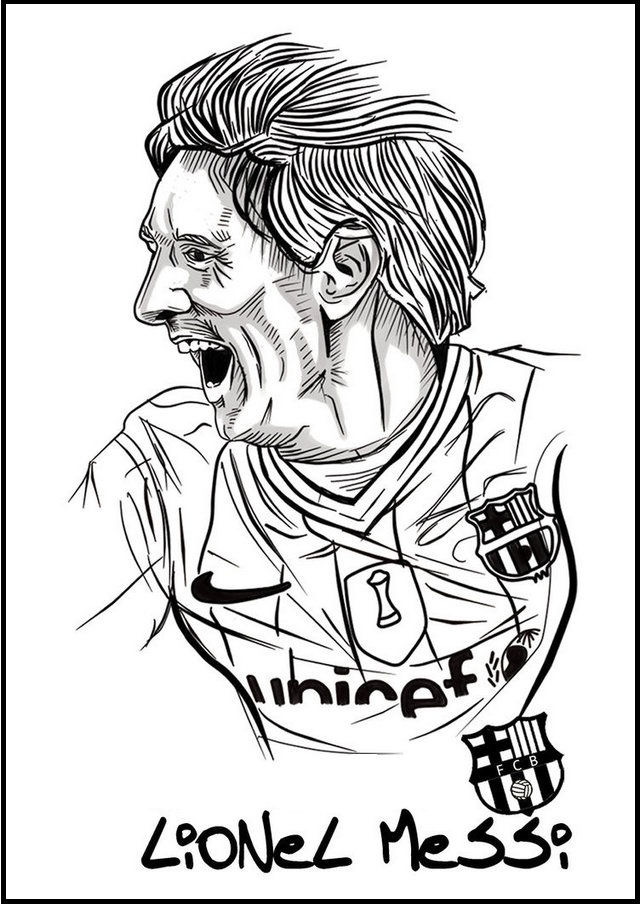 Messi Soccer Football Player Coloring Pictures