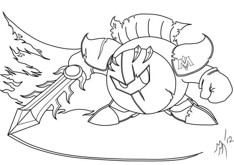 Meta Knight Kirby Coloring Pages
