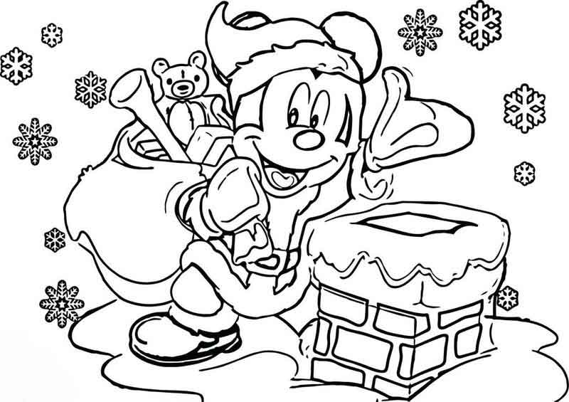 Mickey Mouse Disney Christmas Coloring Page