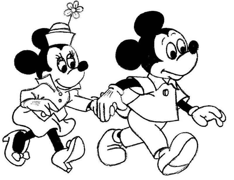 Mickey Mouse And Minnie Coloring Pages
