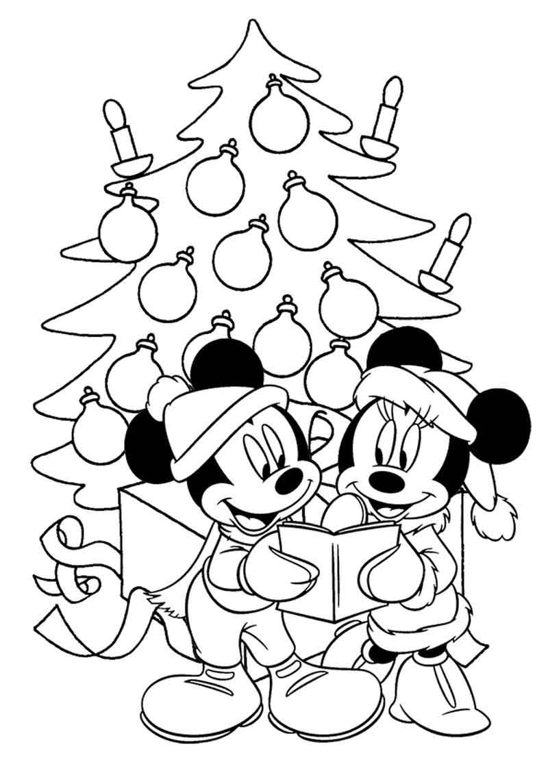 Mickey And Minnie Christmas Coloring Page