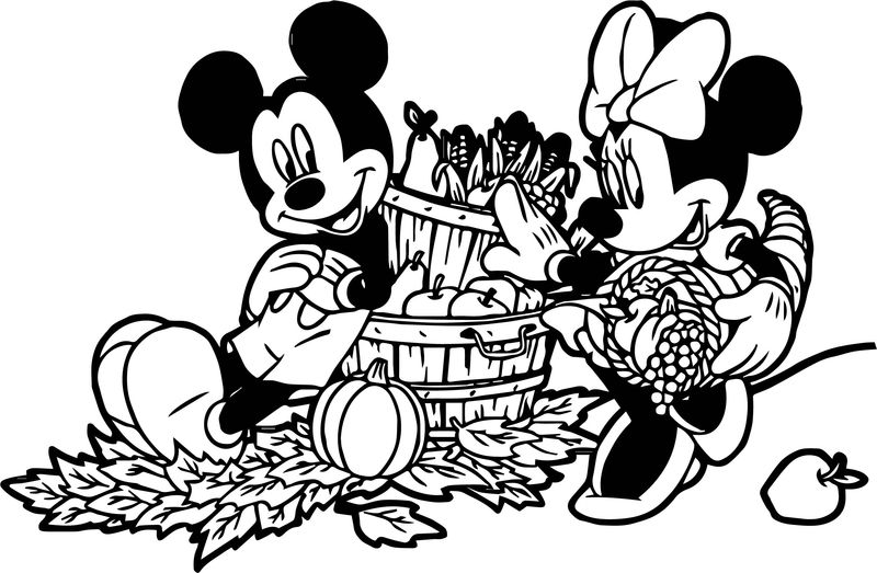 Mickey Minnie Fall Bounty Coloring Page