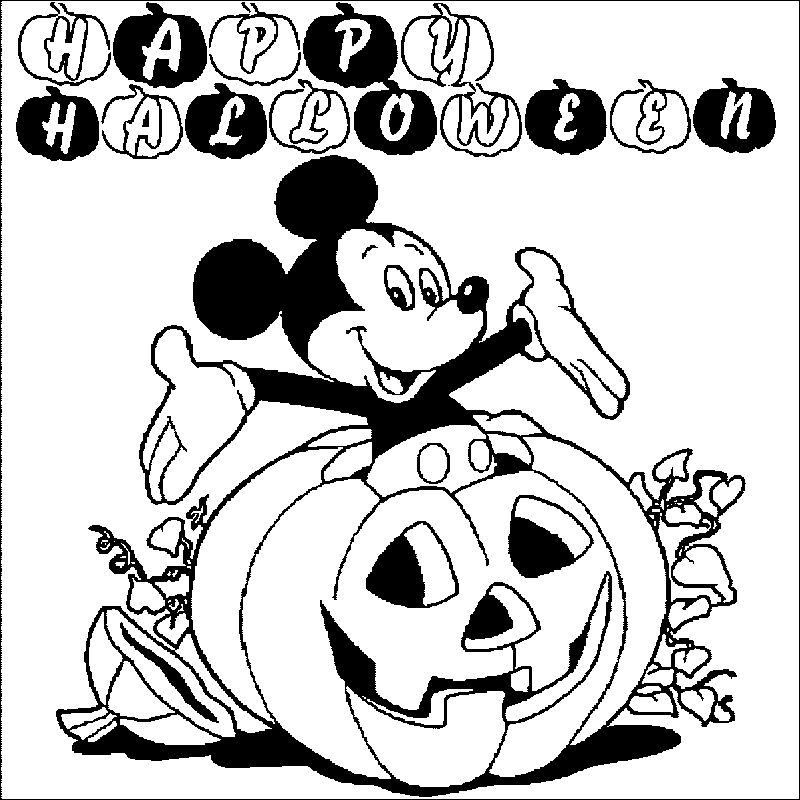 Mickey Mouse Halloween Halloween Coloring Page