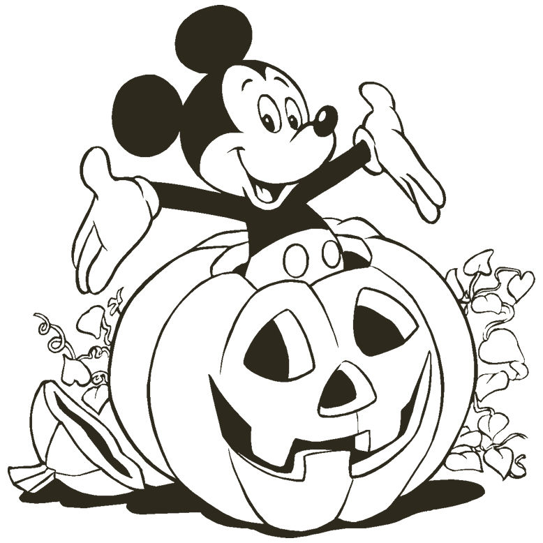 Mickey Mouse With Halloween Coloring Pictures
