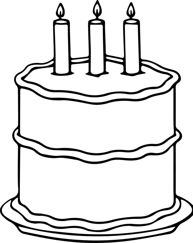 Middle Birthday Cake Coloring Page