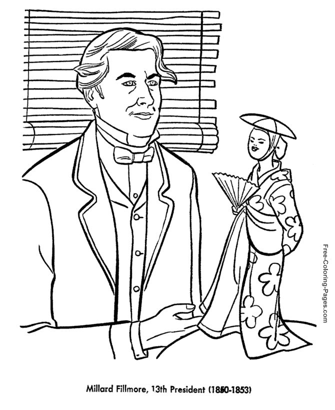 Millard Fillmore Presidents Day Coloring Page