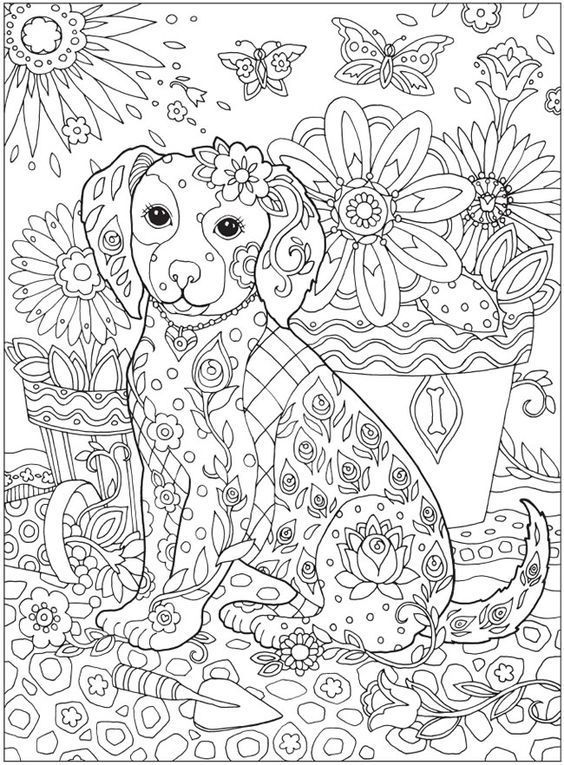 Mindfulness Coloring Pages Animal Dog