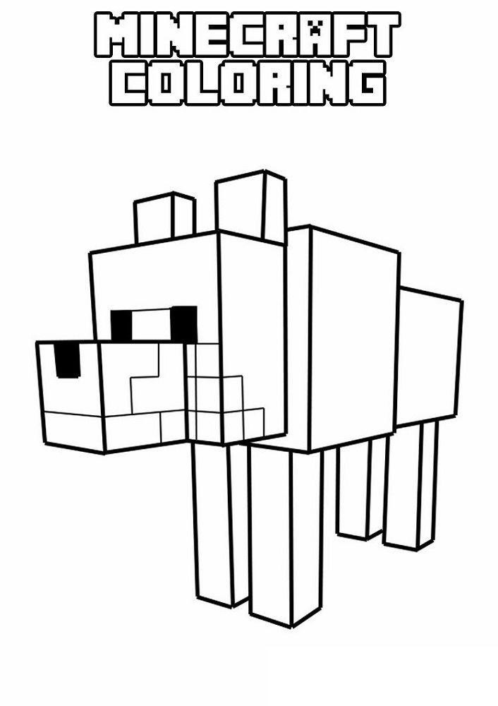 Minecraft Printable Coloring Pages Dog