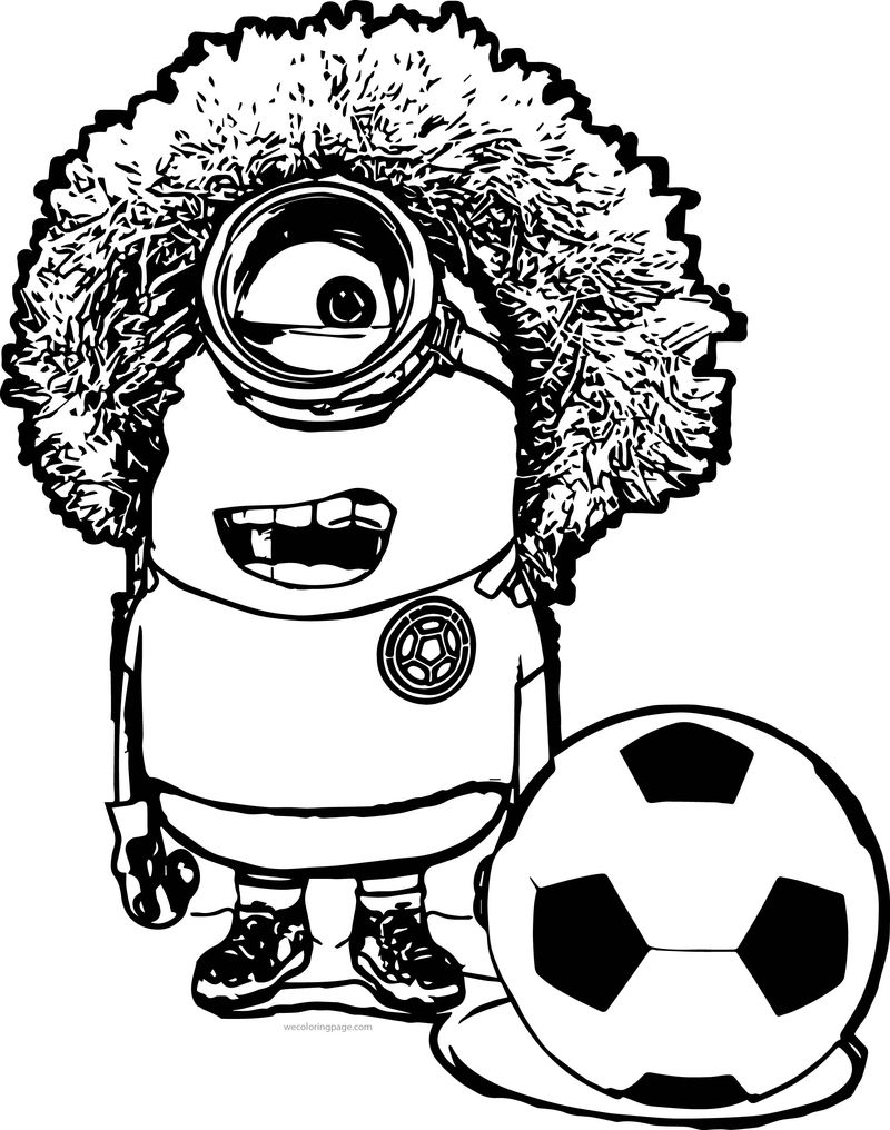 Minion Based On A Colombian Soccer Player Carlos El Pibe Valderrama Coloring Page