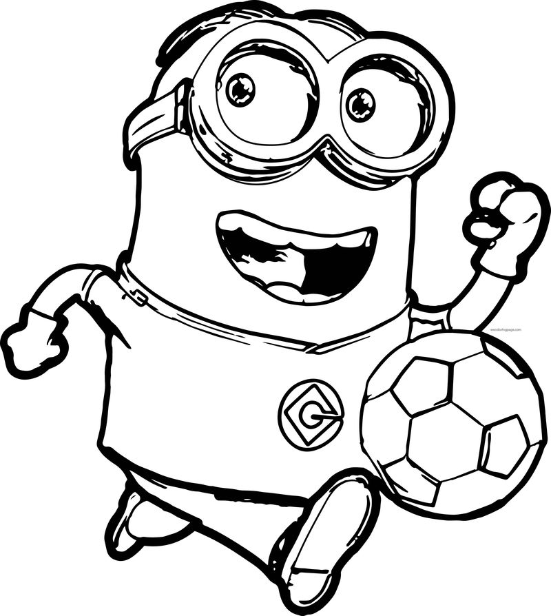 Minions Running Soccer Player Coloring Pages