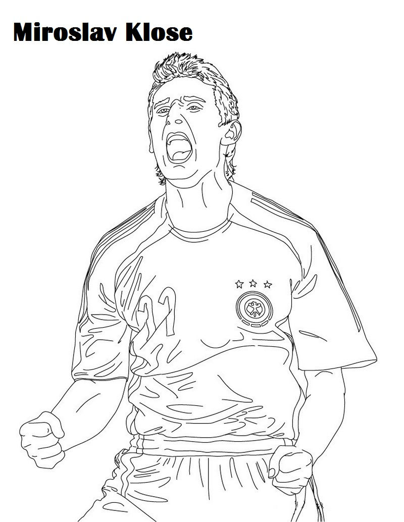 Miroslav Klose Soccer Player Coloring And Activity Page