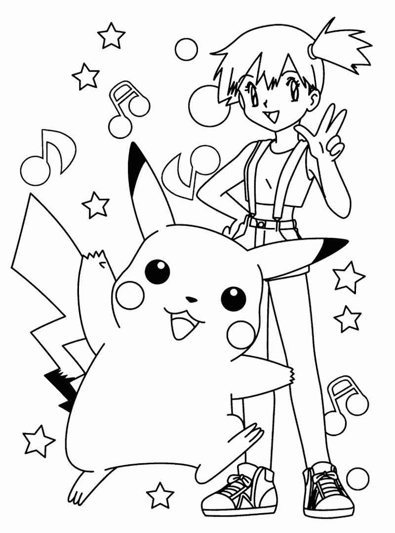 Misty And Pikachu Pokemon Coloring Pages