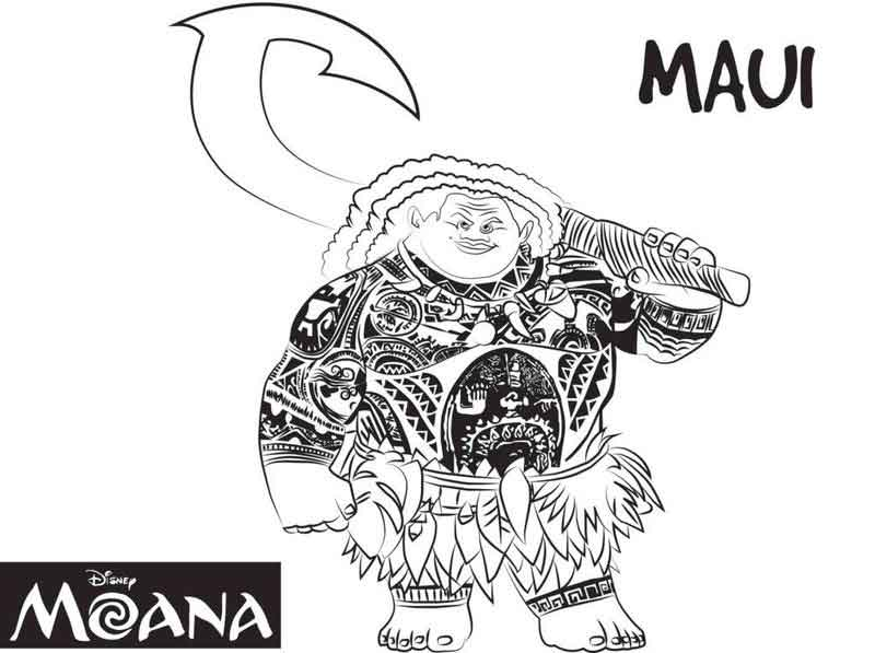 Moana Coloring Pages Maui