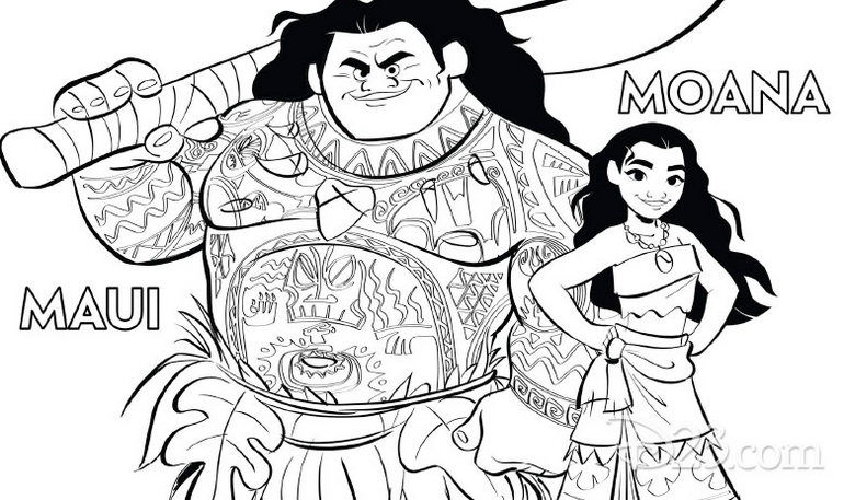 Moana And Maui Coloring Page