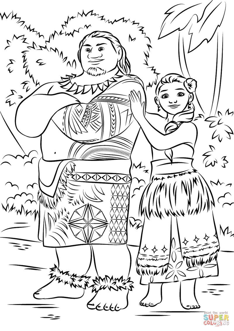 Moana and mui colouring page