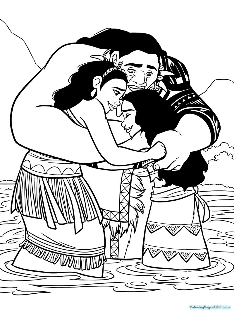 Moana And Parents Coloring Pages