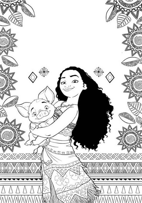 Moana And Pig Coloring Page