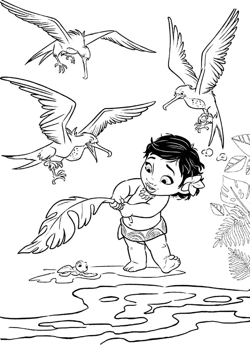 Moana Helping Baby Turtle Coloring Page