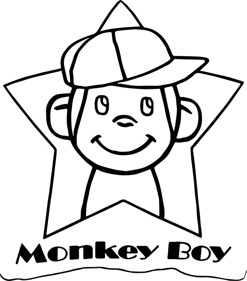 Monkey boy happy star coloring page