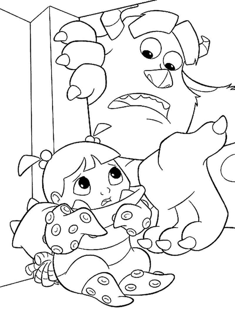 Monsters Inc Coloring Pages Sulley Cares For Boo